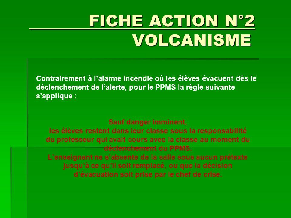 FICHE ACTION N°2 VOLCANISME FICHE ACTION N°2 VOLCANISME Sauf danger imminent, les élèves restent dans leur classe sous la responsabilité du professeur