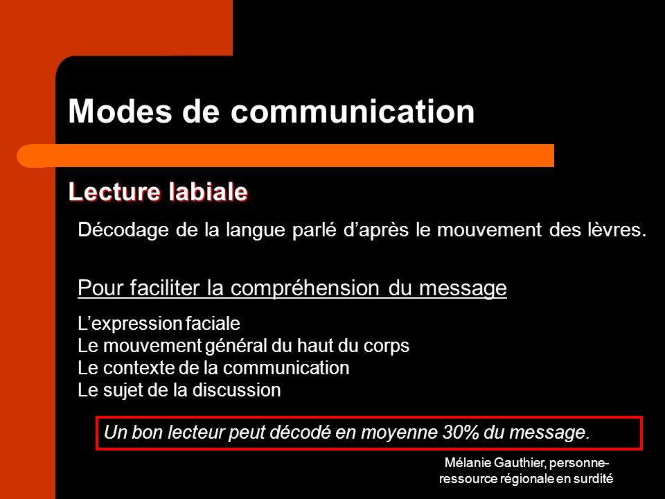 Mélanie Gauthier, personne- ressource régionale en surdité Modes de communication Lecture labiale Décodage de la langue parlé daprès le mouvement des lèvres.