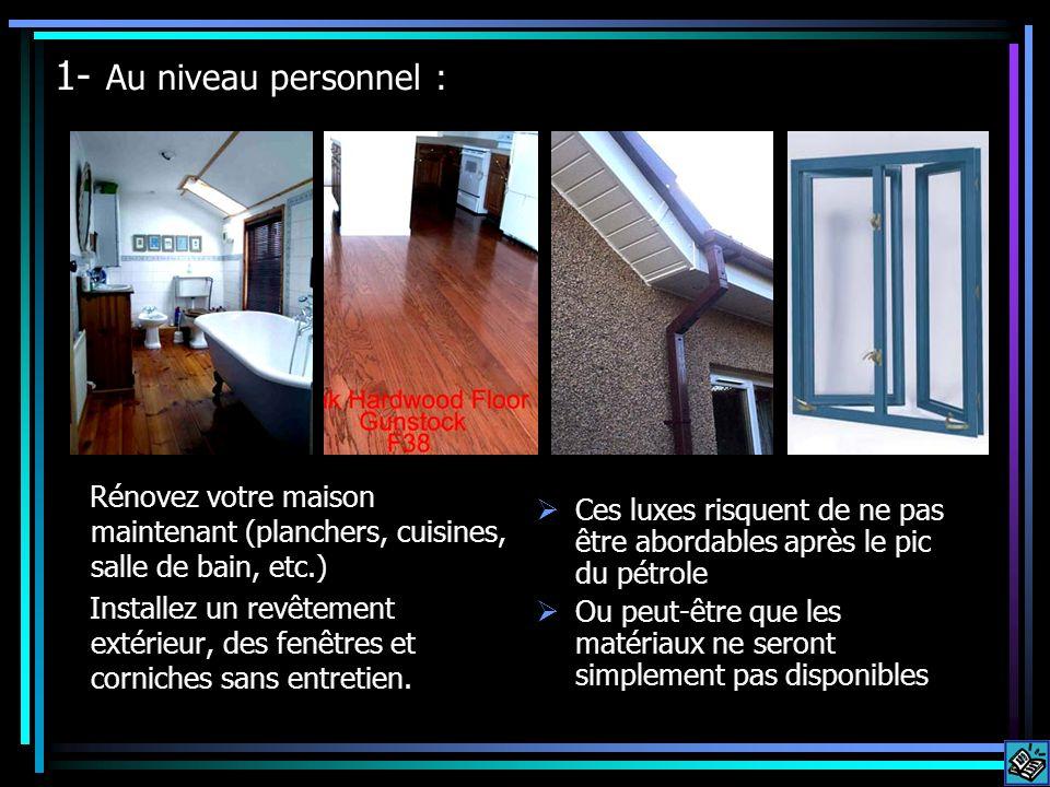 1- Au niveau personnel : Rénovez votre maison maintenant (planchers, cuisines, salle de bain, etc.) Installez un revêtement extérieur, des fenêtres et corniches sans entretien.