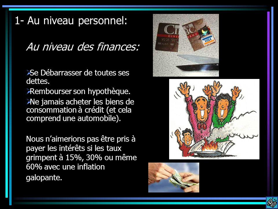 1- Au niveau personnel: Au niveau des finances: Se Débarrasser de toutes ses dettes. Rembourser son hypothèque. Ne jamais acheter les biens de consomm