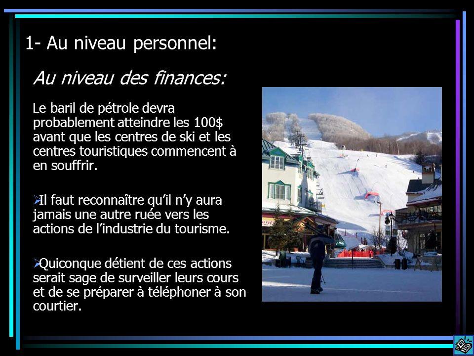 1- Au niveau personnel: Le baril de pétrole devra probablement atteindre les 100$ avant que les centres de ski et les centres touristiques commencent