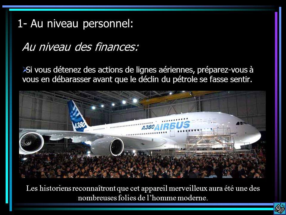 1- Au niveau personnel: Au niveau des finances: Si vous détenez des actions de lignes aériennes, préparez-vous à vous en débarasser avant que le déclin du pétrole se fasse sentir.