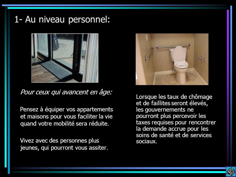 1- Au niveau personnel: Pour ceux qui avancent en âge: Pensez à équiper vos appartements et maisons pour vous faciliter la vie quand votre mobilité sera réduite.