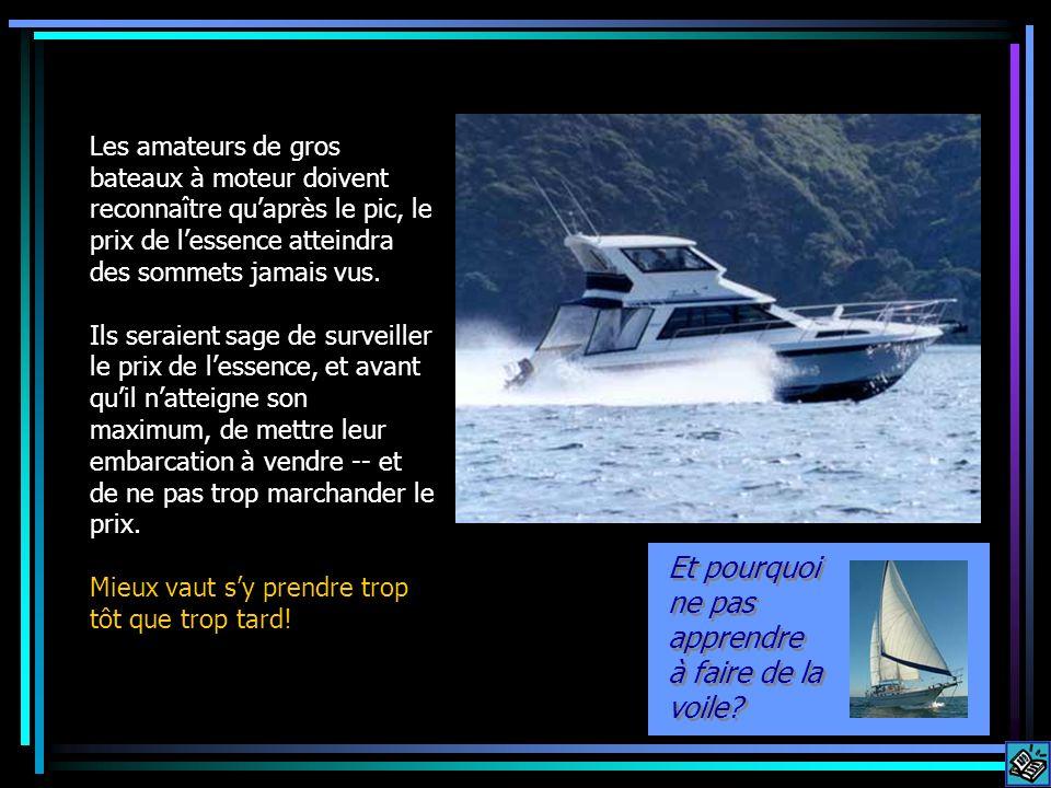 Les amateurs de gros bateaux à moteur doivent reconnaître quaprès le pic, le prix de lessence atteindra des sommets jamais vus. Ils seraient sage de s
