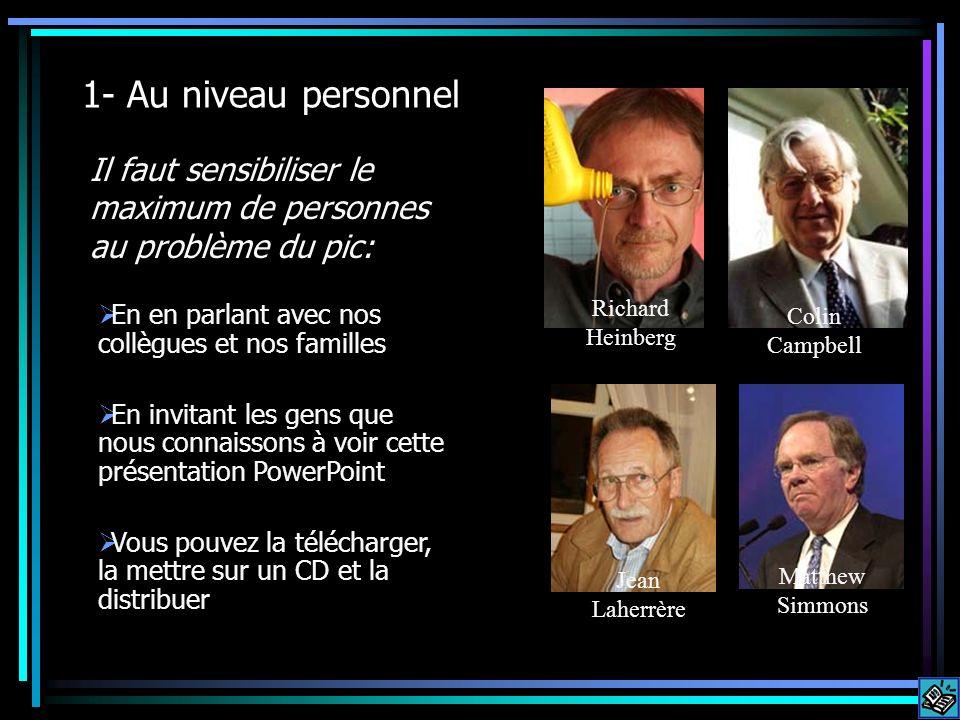 1- Au niveau personnel Il faut sensibiliser le maximum de personnes au problème du pic: Richard Heinberg Colin Campbell Jean Laherrère Matthew Simmons