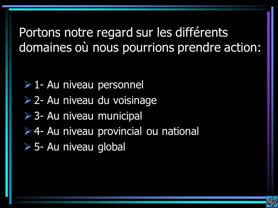 Portons notre regard sur les différents domaines où nous pourrions prendre action: 1- Au niveau personnel 2- Au niveau du voisinage 3- Au niveau municipal 4- Au niveau provincial ou national 5- Au niveau global
