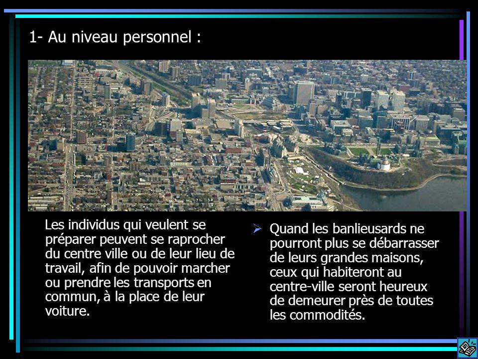 1- Au niveau personnel : Les individus qui veulent se préparer peuvent se raprocher du centre ville ou de leur lieu de travail, afin de pouvoir marcher ou prendre les transports en commun, à la place de leur voiture.