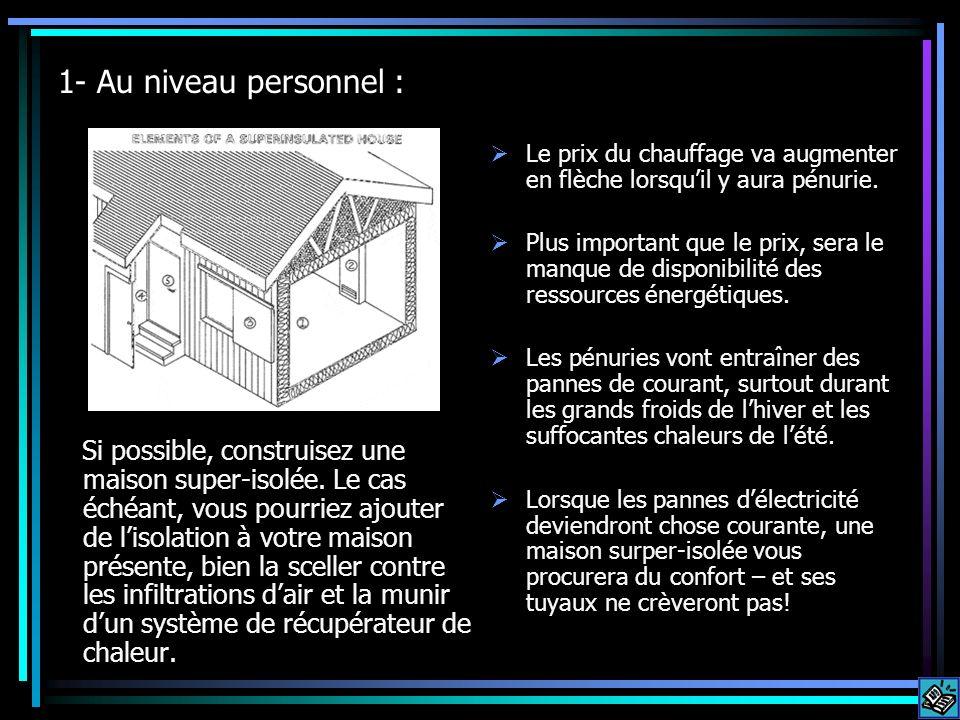 1- Au niveau personnel : Si possible, construisez une maison super-isolée. Le cas échéant, vous pourriez ajouter de lisolation à votre maison présente