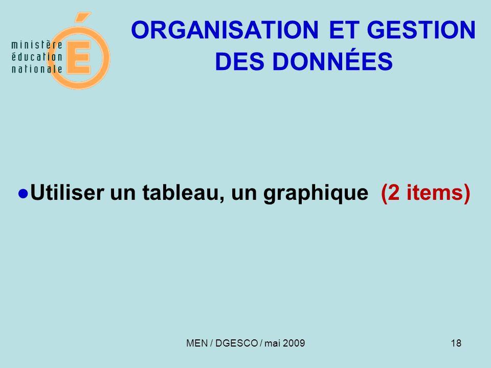 18 ORGANISATION ET GESTION DES DONNÉES Utiliser un tableau, un graphique (2 items) MEN / DGESCO / mai 2009