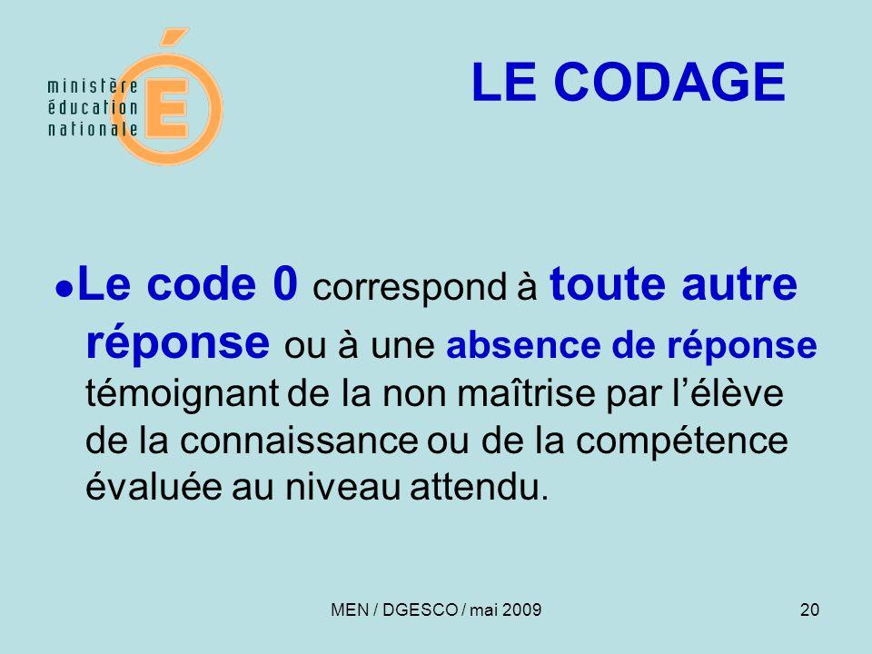 Le code 0 correspond à toute autre réponse ou à une absence de réponse témoignant de la non maîtrise par lélève de la connaissance ou de la compétence