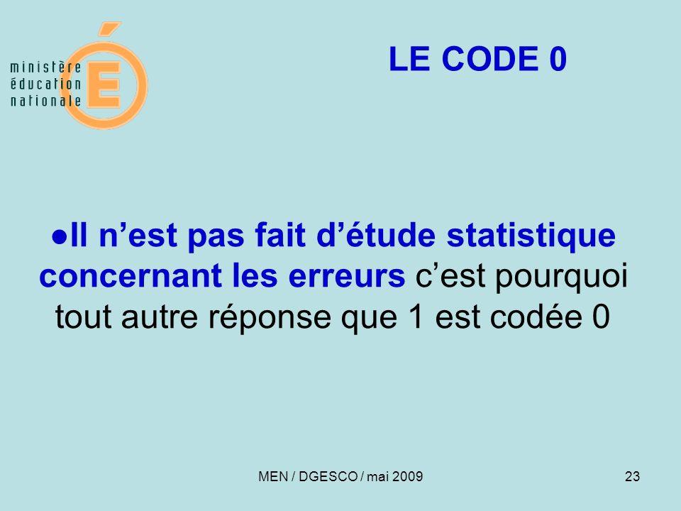 23 Il nest pas fait détude statistique concernant les erreurs cest pourquoi tout autre réponse que 1 est codée 0 LE CODE 0 MEN / DGESCO / mai 2009