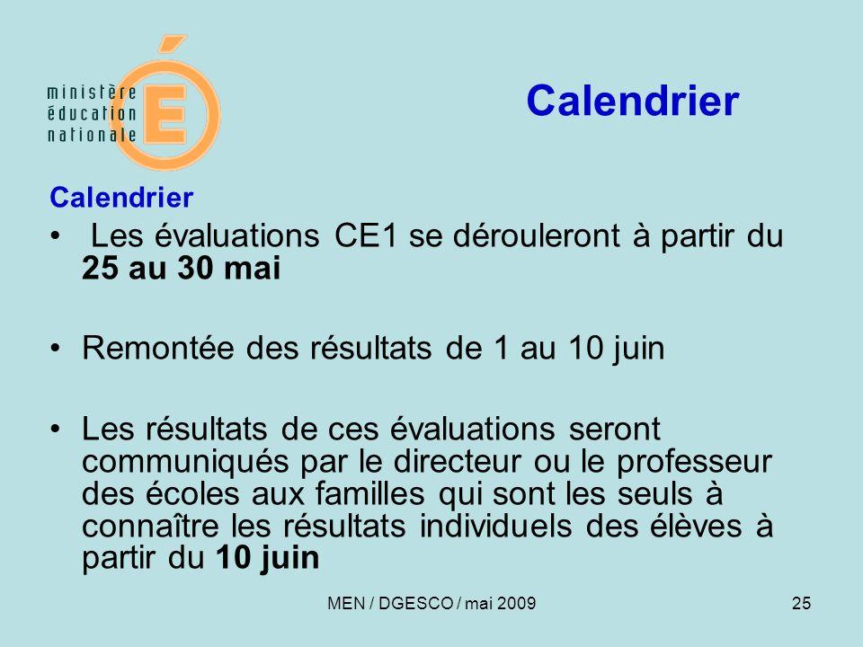 25 Calendrier Les évaluations CE1 se dérouleront à partir du 25 au 30 mai Remontée des résultats de 1 au 10 juin Les résultats de ces évaluations sero
