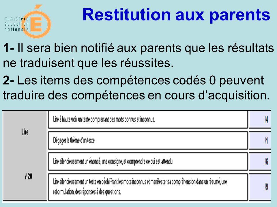 27 Restitution aux parents MEN / DGESCO / mai 2009 1- Il sera bien notifié aux parents que les résultats ne traduisent que les réussites. 2- Les items