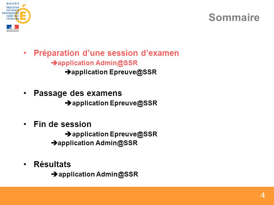 4 4 4 Sommaire Préparation dune session dexamen application Admin@SSR application Epreuve@SSR Passage des examens application Epreuve@SSR Fin de sessi