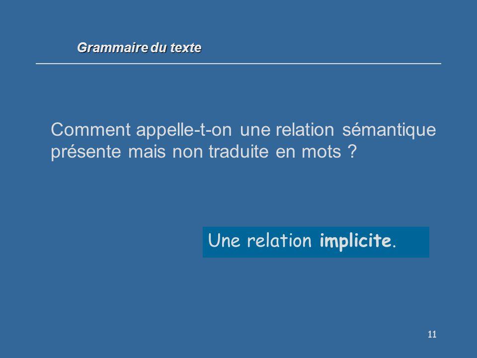 11 Comment appelle-t-on une relation sémantique présente mais non traduite en mots .