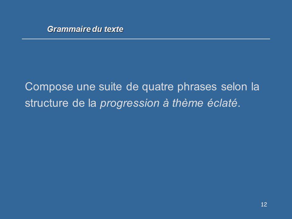 12 Compose une suite de quatre phrases selon la structure de la progression à thème éclaté.