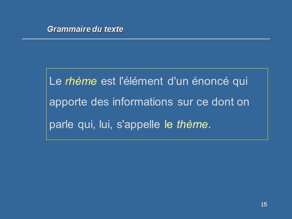 15 Le rhème est l élément d un énoncé qui apporte des informations sur ce dont on parle qui, lui, s appelle le thème.