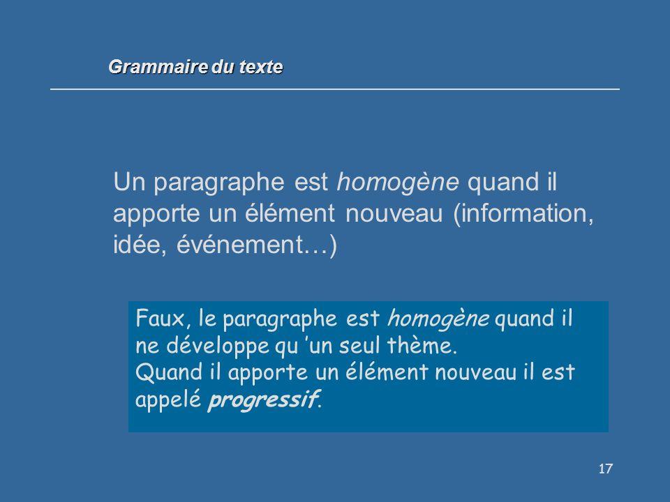 17 Un paragraphe est homogène quand il apporte un élément nouveau (information, idée, événement…) Vrai / Faux .