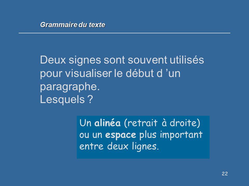 22 Deux signes sont souvent utilisés pour visualiser le début d un paragraphe.