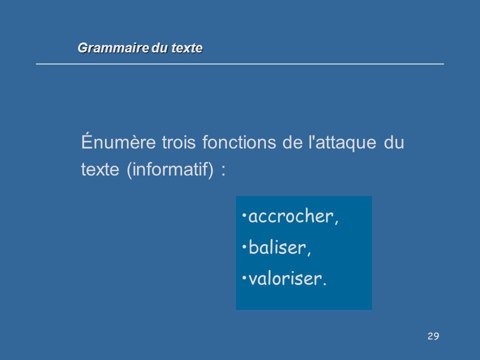29 Énumère trois fonctions de l attaque du texte (informatif) : accrocher, baliser, valoriser.