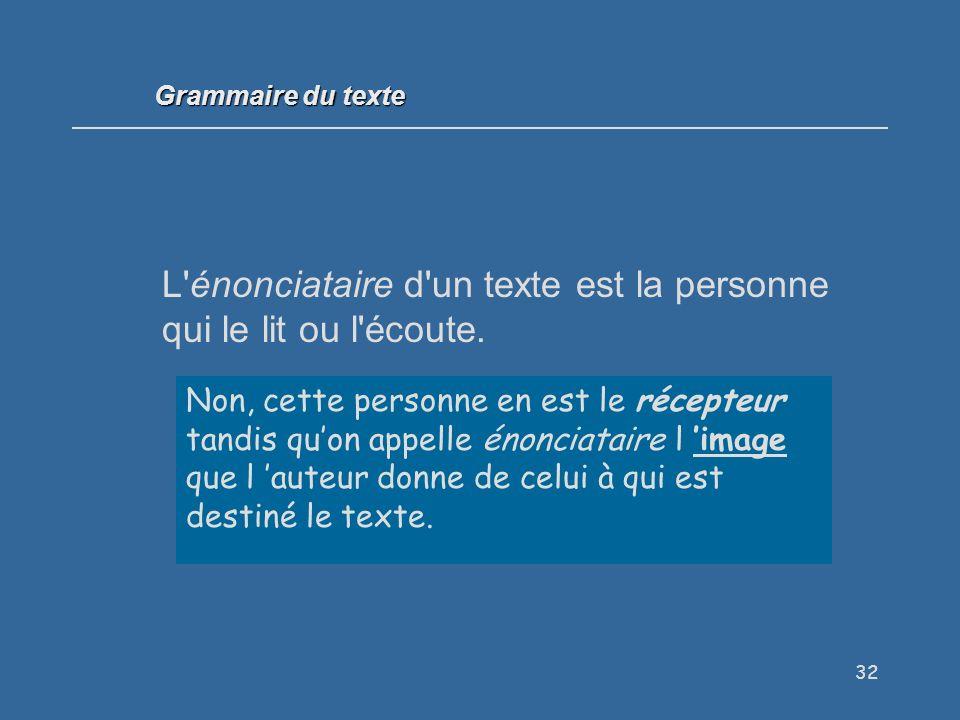 32 L énonciataire d un texte est la personne qui le lit ou l écoute.