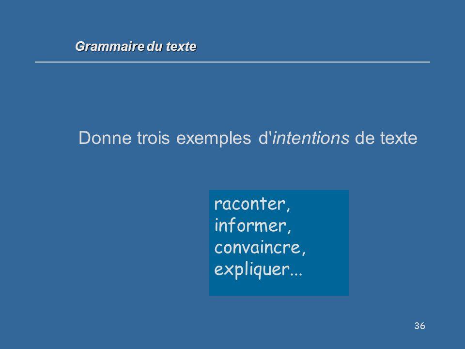 36 Donne trois exemples d intentions de texte raconter, informer, convaincre, expliquer...