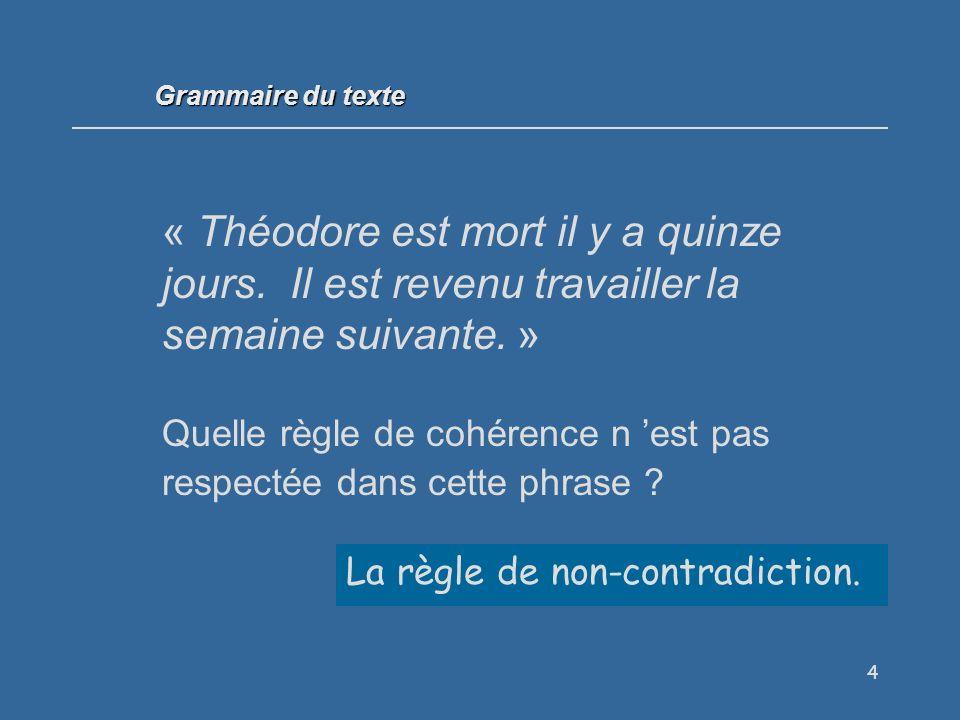 85 Il est obligatoire de suivre toutes les règles de cohérence textuelle pour bien écrire.