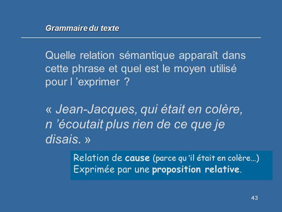 43 Quelle relation sémantique apparaît dans cette phrase et quel est le moyen utilisé pour l exprimer .