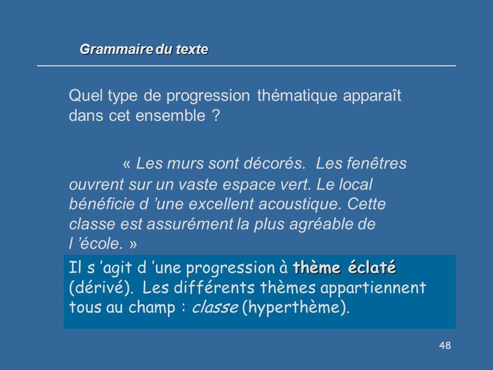 48 Grammaire du texte Quel type de progression thématique apparaît dans cet ensemble .