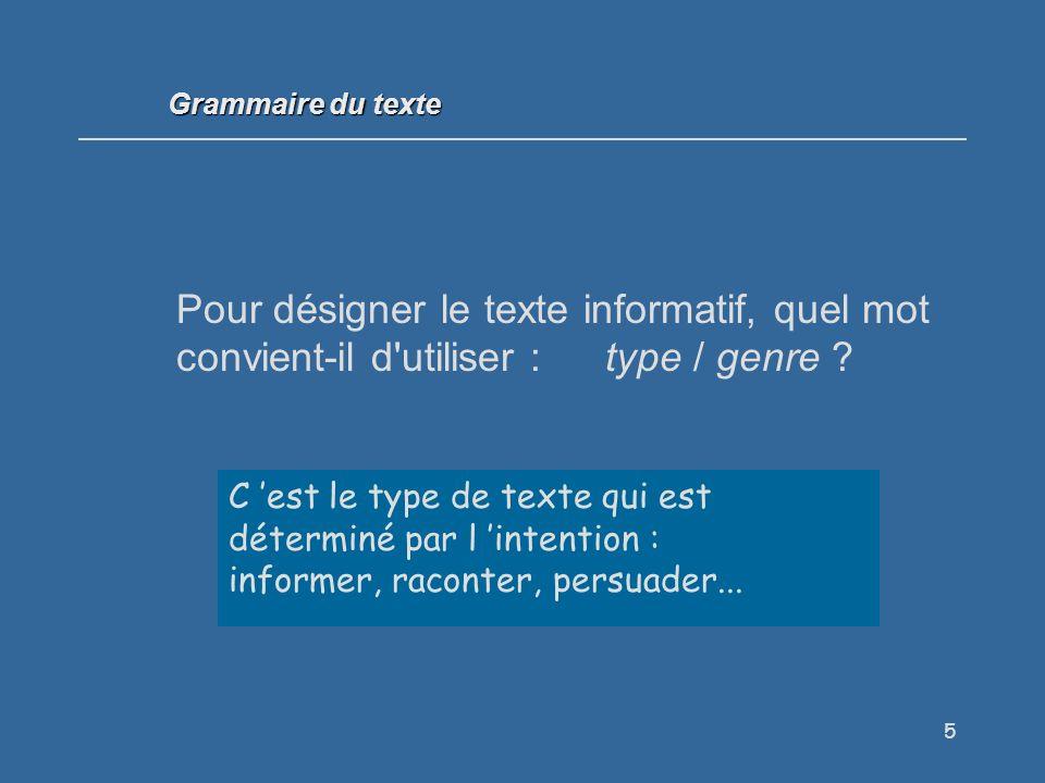 66 Souligne en bleu le titre plein, en vert le titre creux : Grammaire du texte Fait Divers.