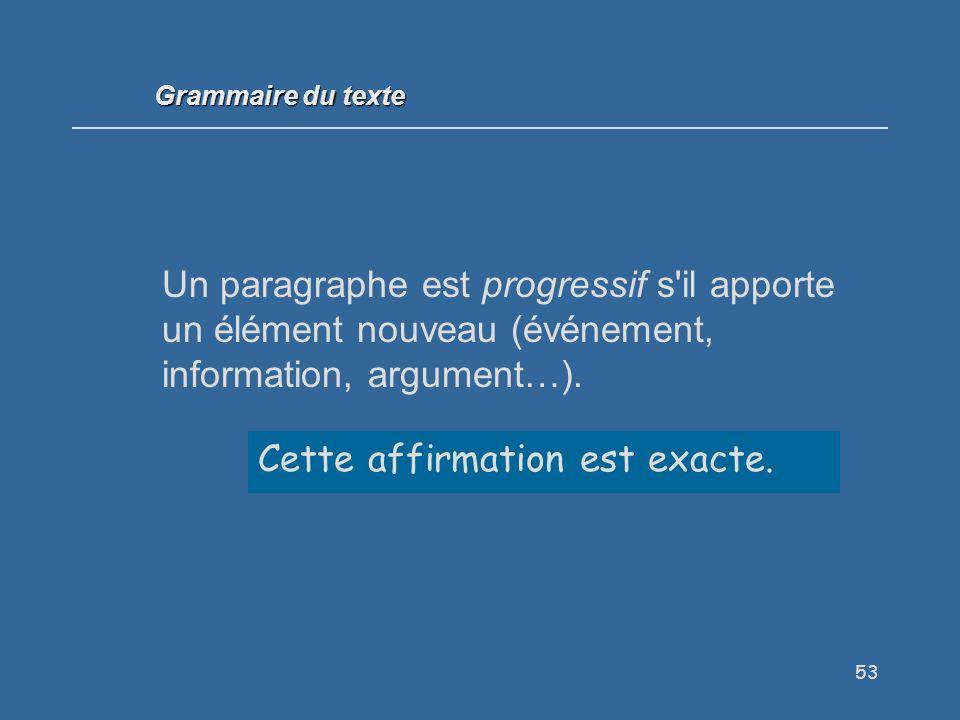 53 Un paragraphe est progressif s il apporte un élément nouveau (événement, information, argument…).