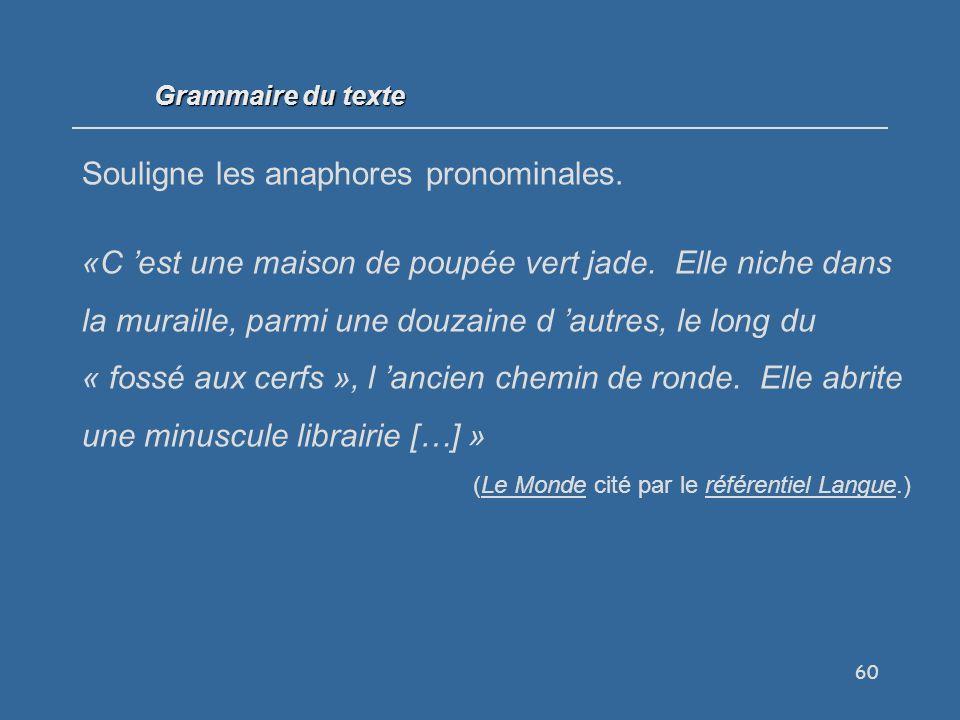60 Grammaire du texte Souligne les anaphores pronominales.
