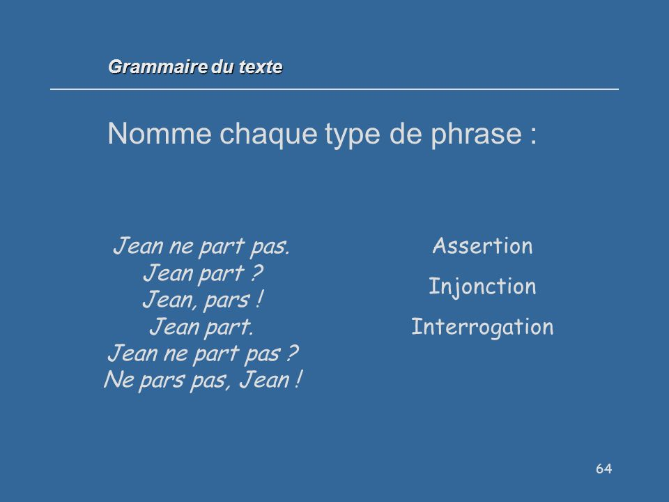 64 Nomme chaque type de phrase : Grammaire du texte Jean ne part pas.