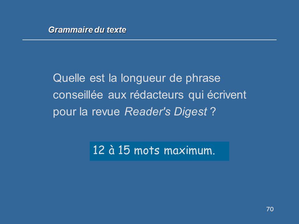 70 Quelle est la longueur de phrase conseillée aux rédacteurs qui écrivent pour la revue Reader s Digest .