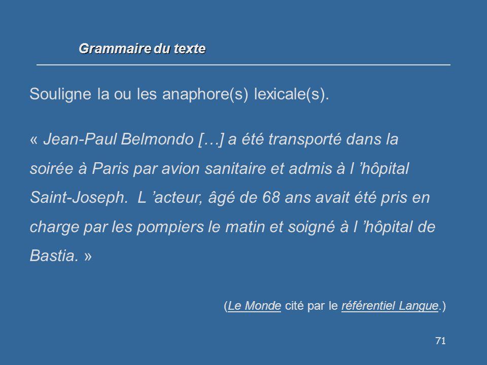 71 Grammaire du texte Souligne la ou les anaphore(s) lexicale(s).