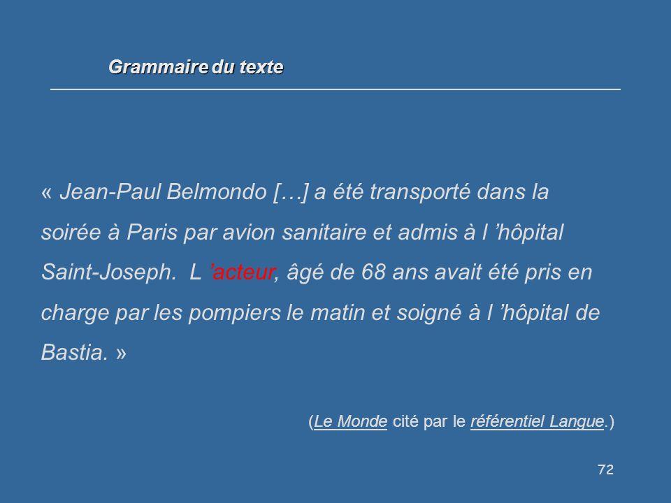 72 Grammaire du texte « Jean-Paul Belmondo […] a été transporté dans la soirée à Paris par avion sanitaire et admis à l hôpital Saint-Joseph.