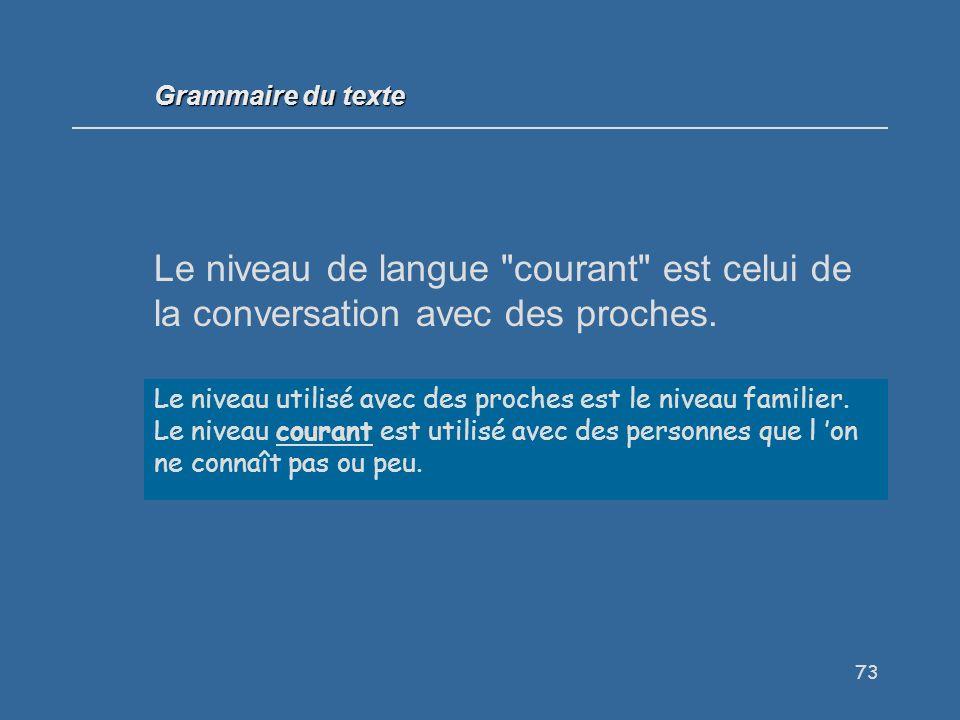 73 Le niveau de langue courant est celui de la conversation avec des proches.