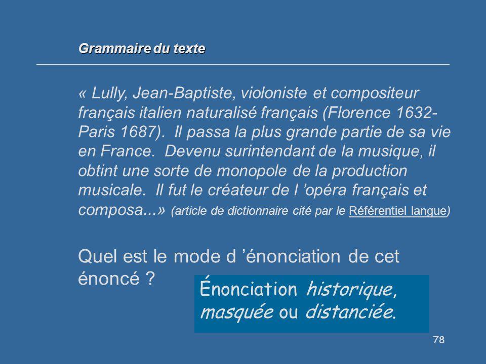 78 Grammaire du texte « Lully, Jean-Baptiste, violoniste et compositeur français italien naturalisé français (Florence 1632- Paris 1687).