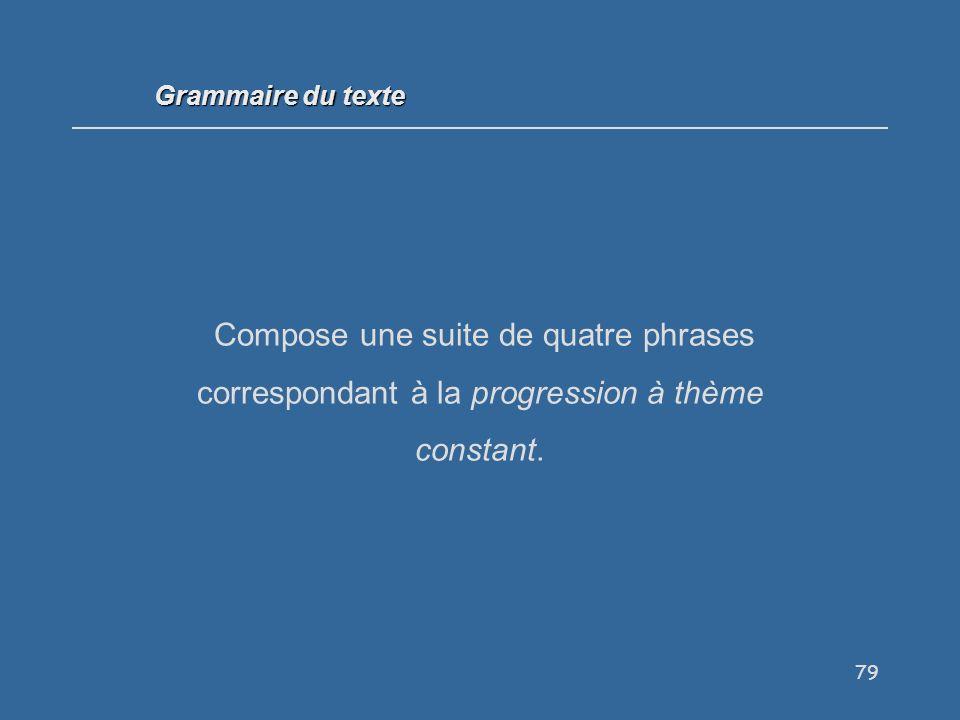 79 Compose une suite de quatre phrases correspondant à la progression à thème constant.