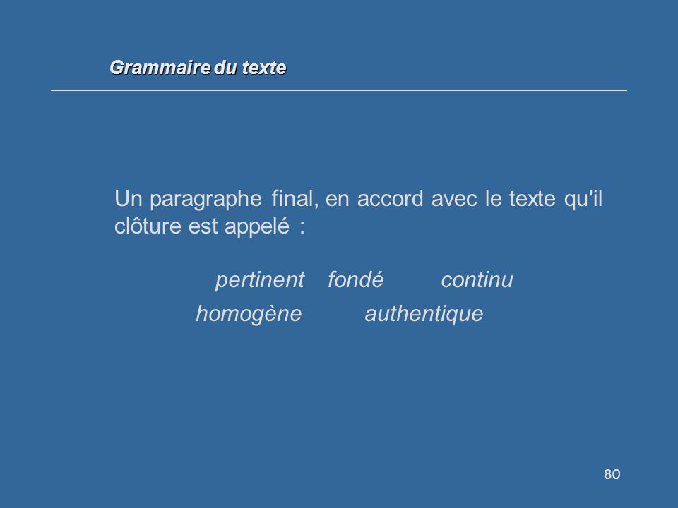 80 Un paragraphe final, en accord avec le texte qu il clôture est appelé : pertinentfondécontinu homogèneauthentique Grammaire du texte