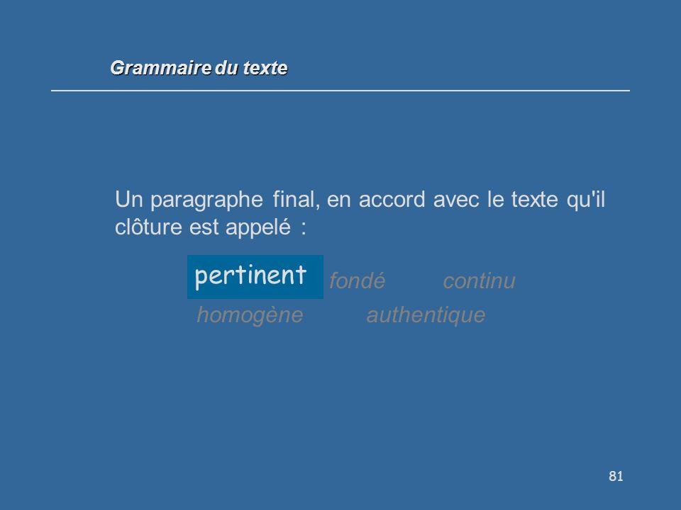 81 Un paragraphe final, en accord avec le texte qu il clôture est appelé : pertinentfondécontinu homogèneauthentique pertinent Grammaire du texte