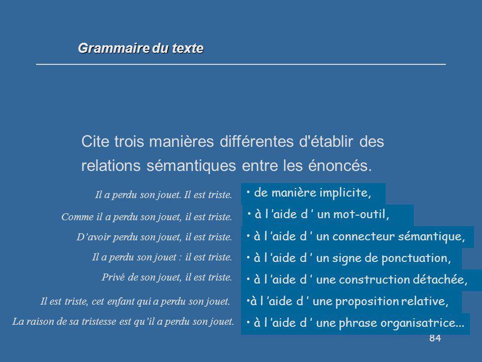 84 Cite trois manières différentes d établir des relations sémantiques entre les énoncés.