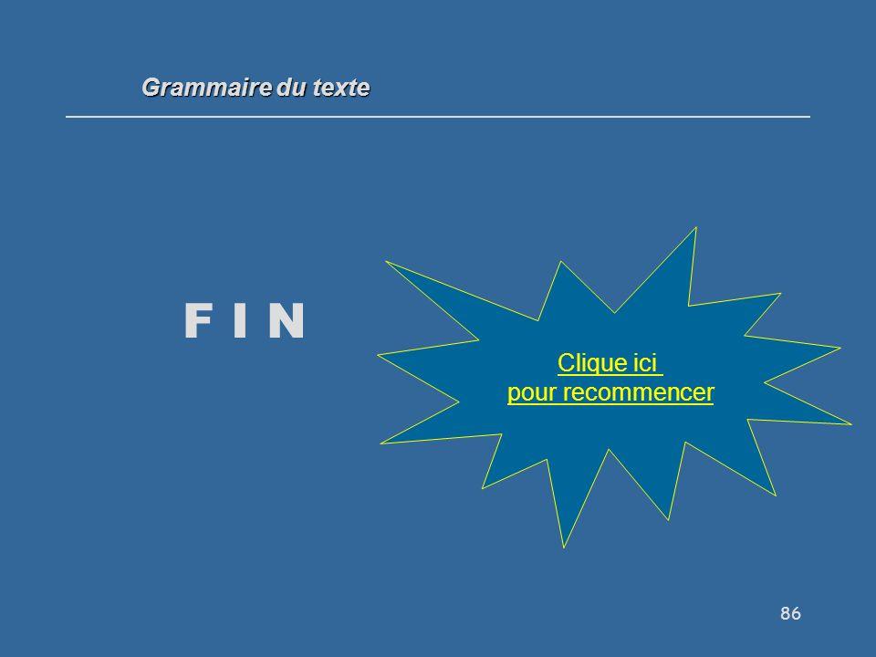 86 F I N Grammaire du texte Clique ici pour recommencer