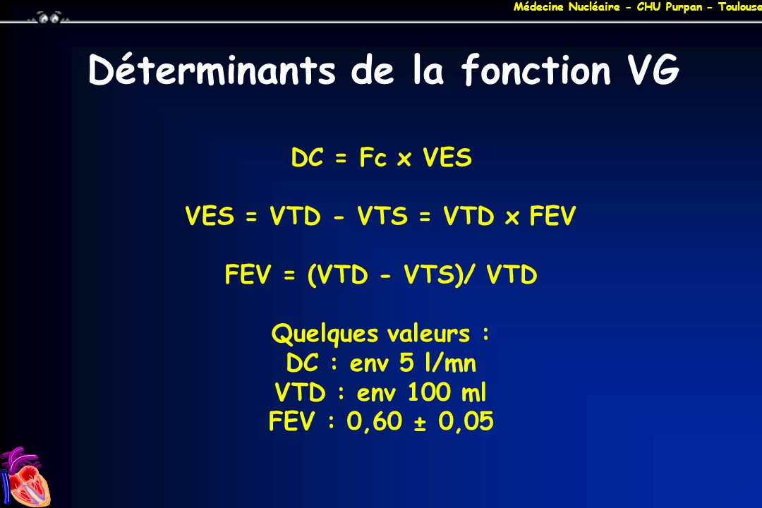 Médecine Nucléaire - CHU Purpan - Toulouse Déterminants de la fonction VG DC = Fc x VES VES = VTD - VTS = VTD x FEV FEV = (VTD - VTS)/ VTD Quelques va