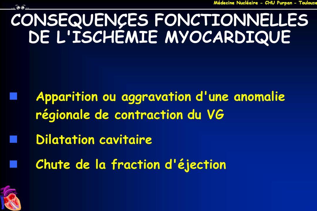 Médecine Nucléaire - CHU Purpan - Toulouse CONSEQUENCES FONCTIONNELLES DE L'ISCHÉMIE MYOCARDIQUE Apparition ou aggravation d'une anomalie régionale de