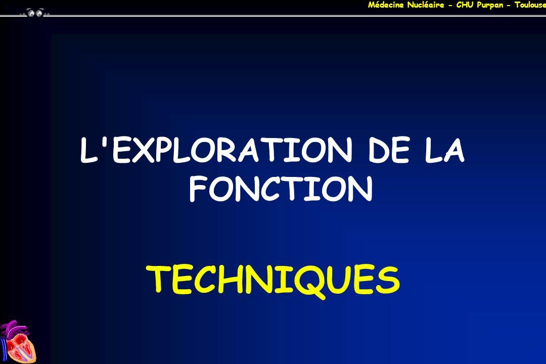 Médecine Nucléaire - CHU Purpan - Toulouse MIBI REPOS / STRESS + 1 er PASSAGE 0 +1H variable +4 +15 TOMO MIBI 10 mCi Effort MIBI 30 mCi PP Pers PP