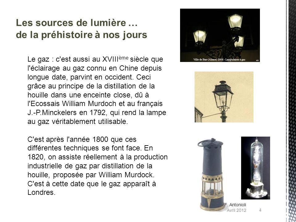 Les sources de lumière … de la préhistoire à nos jours Le gaz : c'est aussi au XVIII ème siècle que l'éclairage au gaz connu en Chine depuis longue da