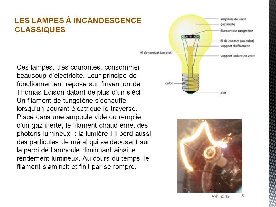 Ces lampes, très courantes, consomment beaucoup délectricité. Leur principe de fonctionnement repose sur linvention de Thomas Edison datant de plus du
