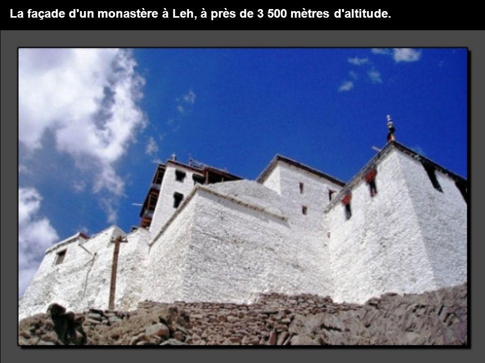 La façade d un monastère à Leh, à près de 3 500 mètres d altitude.