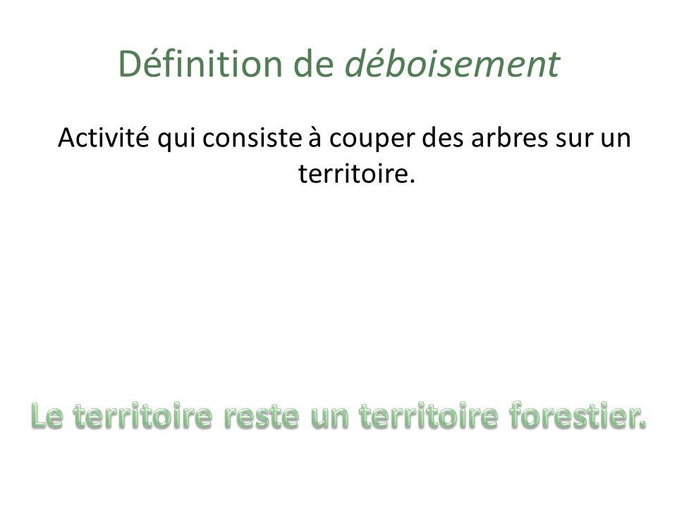 Exemples de déboisement Couper des arbres pour vendre le bois.